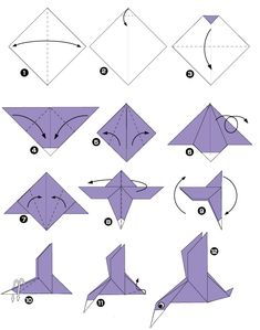 Duck Fly - Easy Origami instructions For Kids Mais Origami 3d, Origami Duck, Dragon Origami, Design Origami, Origami Simple, Origami Templates, Origami Star Box, Origami Fish, Paper Crafts Origami