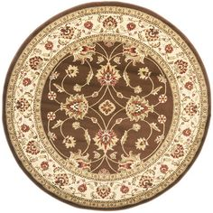 Safavieh Lyndhurst Traditional Oriental Brown/ Ivory Rug - x round Floral Area Rugs, Beige Area Rugs, Round Area Rugs, Floral Border, Rug Shapes, Blue Ivory, Rug Material, Colorful Rugs, Rug Size