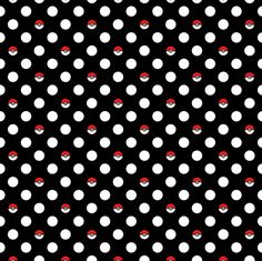 Pokemon fabric. Pokeball fabric. Pokedot fabric. Polkadot. Dots.
