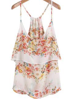 White Spaghetti Strap Floral Chiffon Vest 14$