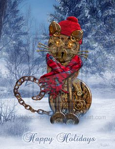Happy Holidays from Steampunk Kitty by ~Guardianofthenight on deviantART <--- That's me! (Laura)