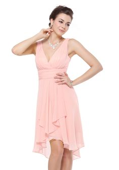 V-Neck High Low Pink Chiffon A-Line Bridesmaid Dress