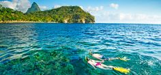 The best #snorkeling in St. Lucia is offer Anse Chastanet's reefs! #Caribbean