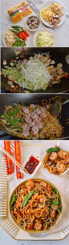 Shrimp Lo Mein Recipe, a classic made better at home. lo mein recipe chinese food Shrimp Lo Mein: Just Like Chinese Takeout Seafood Recipes, Dinner Recipes, Cooking Recipes, Shrimp Lo Mein Recipe, Low Mein Recipe, Asian Recipes, Healthy Recipes, Ethnic Recipes, Asian Cooking