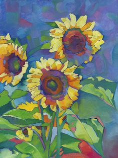 Here Comes the Sun bright fauve contemporary oil painting of sunflowers • floral illustration by Louisiana artist KMSchmidt