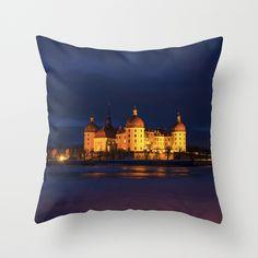 Fairy tale Castle - Moritzburg at Night Throw Pillow  #moritzburg, #fairytale, #cinderella, #3haselnüsse #schloss #society6, #originalaufnahme, #utart