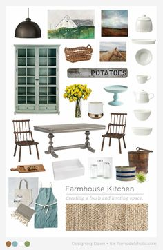 Beautiful farmhouse inspiration plus tips for creating the comfortable worn look in your own kitchen and dining room, whether your home is farm-worn or brand new.