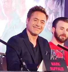 """Robert reacting as Elizabeth Olsen compliments him during the """"Age of Ultron"""" L.A. press conference."""