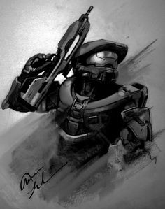 Halo / Master Chief  Charcoal Portrait