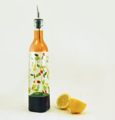 Such a pretty oil bottle for your kitchen counter
