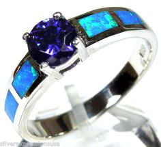Tanzanite & Blue Fire Opal Inlay 925 Sterling Silver Solitaire Ring. love it!