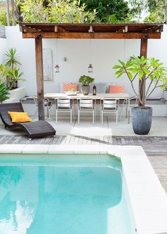Entertaining area Thanks to this poolside entertaining area, visitors are always treated to a water view Sunshine Coast, Outdoor Entertaining, Home And Family, Patio, Landscape, Outdoor Decor, House, Beautiful, Decks