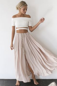 off the shoulder white top with blush pleated skirt
