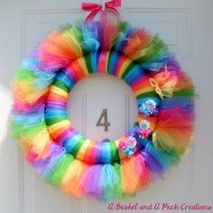 Vibrant Colorful Rainbow Summer or Birthday Party Tutu Wreath