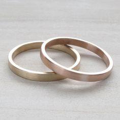 Ihn und ihn Ehering set lesbische Hochzeit 2x1mm flache | Etsy
