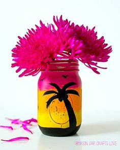 Tropical Sunset Mason Jar - Mason Jar Crafts Love