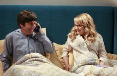 """The Cohabitation Experimentation"" -- Pictured: Howard Wolowitz (Simon Helberg) and Bernadette (Melissa Rauch). When Amy's apartment floods, she proposes a ""cohabitation experiment"" with Sheldon.   Also, Howard and Bernadette are upset when Koothrappali learns the gender of the baby before them, on THE BIG BANG THEORY, Monday, Oct. 10 (8:00-8:31 PM, ET/PT), on the CBS Television Network. Photo: Michael Yarish/Warner Bros. Entertainment Inc. © 2016 WBEI. All rights reserved."
