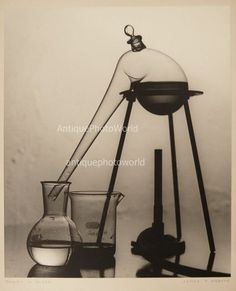 Still life with glass chemistry laboratory flasks vintage art photo by J. Dobyns | eBay