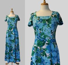 Hawaiian Dress / Vintage 1960's Blue Floral by DuncanLovesTess, $45.00