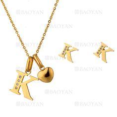"""juego collar y aretes de letra """"K"""" brillante en acero dorado inoxidable -SSNEG1093692"""