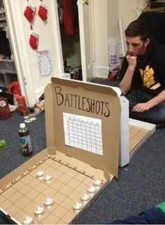 alcohol, creative, drinking, party I want to try this with the kids but replace alcohol with candy or dimes. (party drinks alcohol with candy) Battle Shots, Fun Games, Awesome Games, Creations, Entertaining, How To Make, Pizza Boxes, Crafty, Random