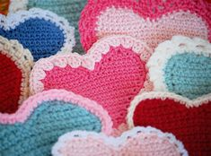 """crochet hearts"" - Made 12+ for my Sunday School class girls for Valentines day.  They seemed to love them :-)"