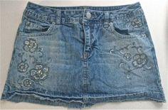 Girls' Denim Jeans Skirt Skort JUSTICE Size 14 Bling Glitter Embellished