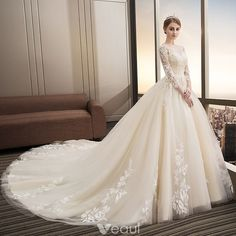 5c28fc5de793 Modern   Fashion Champagne Wedding Dresses 2018 Ball Gown Appliques Lace  Sequins Scoop Neck Backless 3 4 Sleeve Cathedral Train Wedding