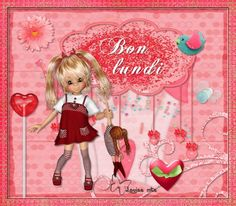 Lundi, cookies, poupée, rose, coeur