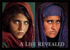 Afghan Girl in 1985 and the Afghan Women in 2011, Sharbat Gula who was the subject of a famous photograph by journalist Steve McCurry.
