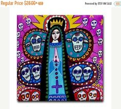 45% Off Today- Mexican Tree of Life Art Tile Day of the Dead Art Ceramic Coaster Tile Virgin of Guadalupe Mexican Folk Art (HG656)