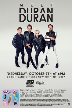 Get ready New York, Duran Duran is coming to J&R Music for an in-store on October 7th! #PaperGods