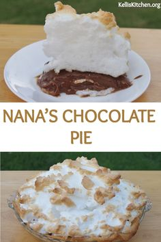 Nana's Chocolate Pie with either Dream Whip topping or Meringue. Chocolate Pie Recipes, Easy Chocolate Desserts, Chocolate Pies, Fun Desserts, Delicious Desserts, Chocolate Lovers, Best Dessert Recipes, Cookie Recipes, Dessert Bars