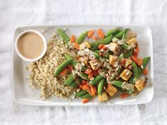Peas, Carrots, and Tempeh with Miso-Almond Sauce | Vegetarian Times