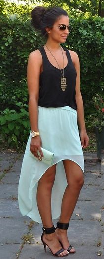 @Courtney Baker Baker Baker Malloy here is a way you could casually wear those high low skirts. cute summer outfit!