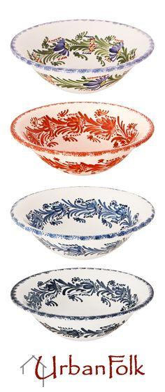 Pottery, Porcelain & Glass 4 Vintage Hand Painted Bowls 100% Original Continental