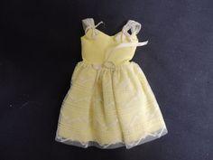 Vintage Skipper Mattel Barbie Original Label 1967 Yellow Summer Sun Dress Lace