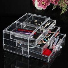 Acrylic Clear Cosmetic Container Makeup Storage Organizer
