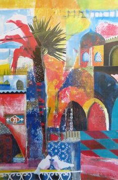 topkapi palace by karen stamper Travel Collage, Moroccan Art, Collage Art Mixed Media, Collages, Building Art, Arabic Art, Tropical Art, Art Journal Pages, Painting Inspiration