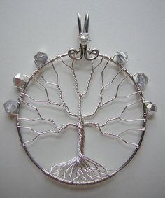 White Tree of Gondor Themed Tree of Life by RachaelsWireGarden, Wire Jewelry, Jewelry Crafts, Jewelery, Jewelry Ideas, Tree Of Life Jewelry, Tree Of Life Pendant, White Tree Of Gondor, Diy Dream Catcher Tutorial, Wire Trees
