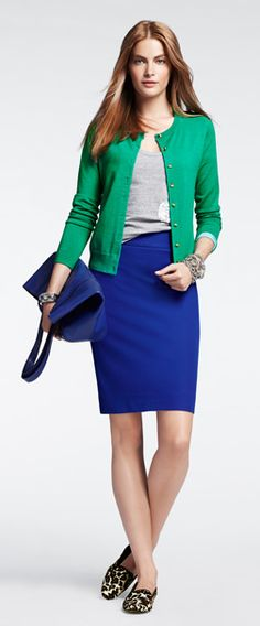 Colored pencil skirt, grey tee or oxford shirt, colorful cardigan, animal print loafers/flats