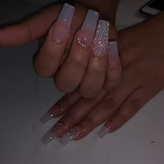 Sunday's 😈 wearing Bling Acrylic Nails, Pink Ombre Nails, Acrylic Nail Shapes, Cute Acrylic Nail Designs, Best Acrylic Nails, Gel Nails, Ballerina Nails Shape, Long Square Acrylic Nails, Fire Nails