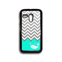 Silver Glitter Chevron Whale Motorola case Moto G by Hingescases, $6.99