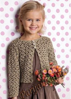 Gilet 352 pattern by phildar design team Diy Crafts Crochet, Cute Crochet, Crochet For Kids, Crochet Lace, Crochet Bolero Pattern, Crochet Cardigan Pattern, Crochet Patterns, Crochet Mignon, Freeform Crochet