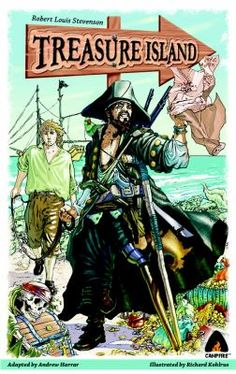 Retells in graphic novel format Stevenson's story of how Jim Hawkins and his innkeeper mother find a treasure map that leads them to a pirate's fortune while going through the possessions of a deceased guest who owed them money.