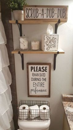 DIY Bathroom Decor Ideas that can be done with cheap Dollar Stores items! These DIY bathroom ideas are perfect for rente Funny Bathroom Decor, Bathroom Humor, Bathroom Signs, Bathroom Interior, Small Bathroom, Bathroom Ideas, Bathroom Shelves, Farmhouse Decor Bathroom, Gray Bathroom Decor