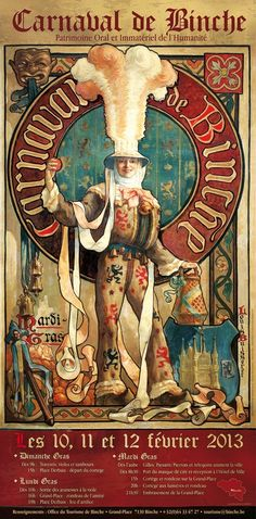 Mardi Gras in Binche, Belgium. home of the famous orange throwing Gille. Old Posters, Vintage Circus Posters, Circo Vintage, Art Vintage, Illustrations, Illustration Art, Old Advertisements, Exhibition Poster, Concept Art