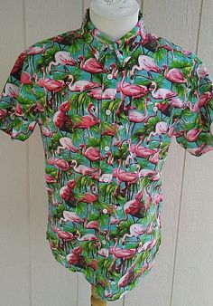 3dd4d0577 Carbon Mens Sz Medium Aloha Shirt Pink Flamingos Slim Fit Blue Camp Hawaiian