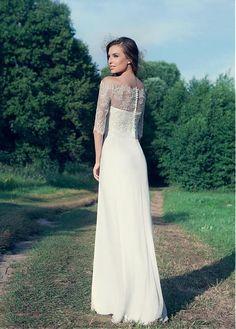 CompriMarvelous chiffon off-the-spalla abiti da sposa scollatura Guaina di sconto sul Dressilyme.com