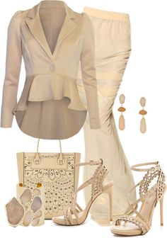 """Neutral Set No. 2"" by flowerchild805 ❤ liked on Polyvore"